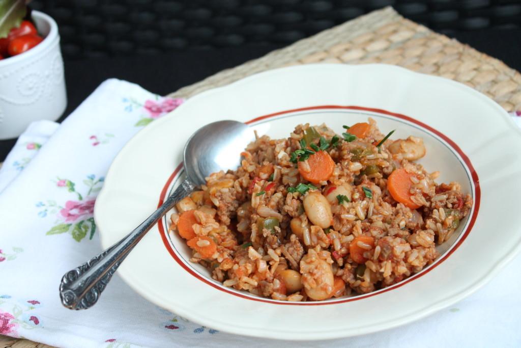 allt i ett gryta köttfärs ris vita bönor vardagsmat