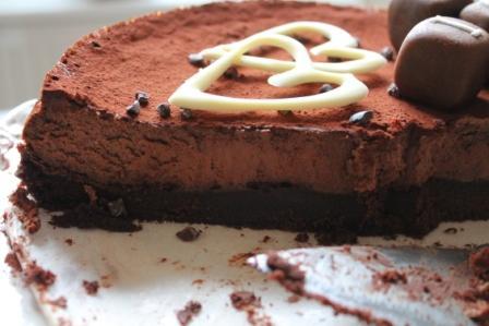 Uppskuren chokladcheesecake