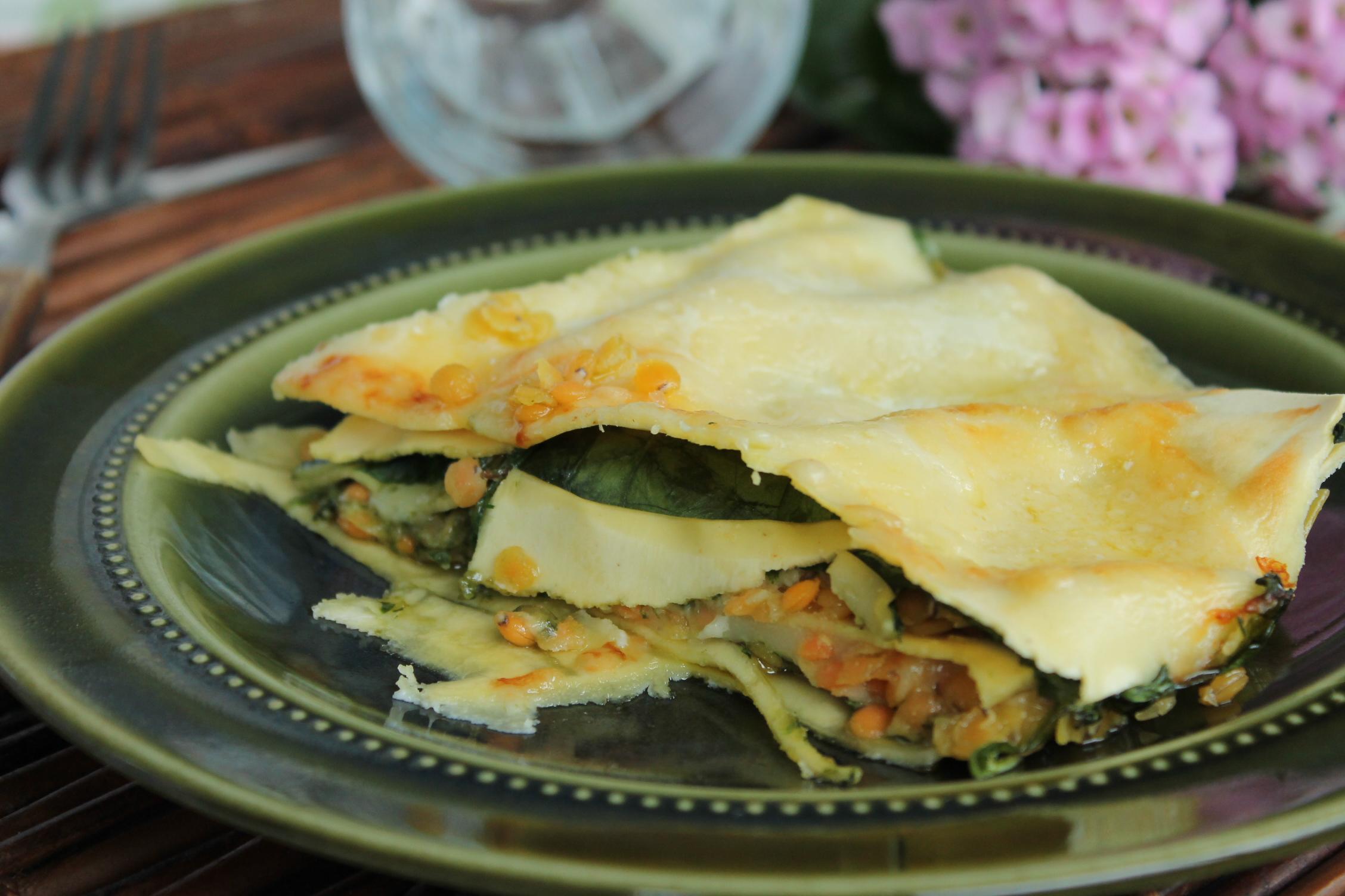 vegetarisk lasagne-brieost-linser-spenat