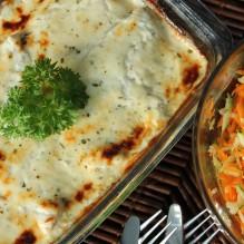 parmesangratinerad torsk morots- zucchinisallad
