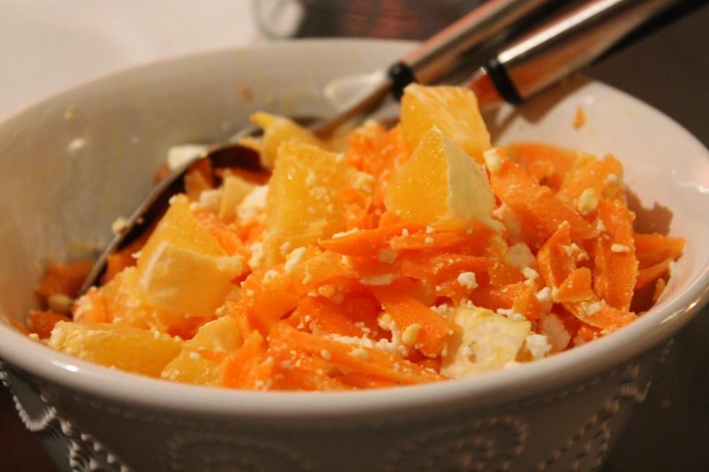 råkostsallad morot fetaost apelsin