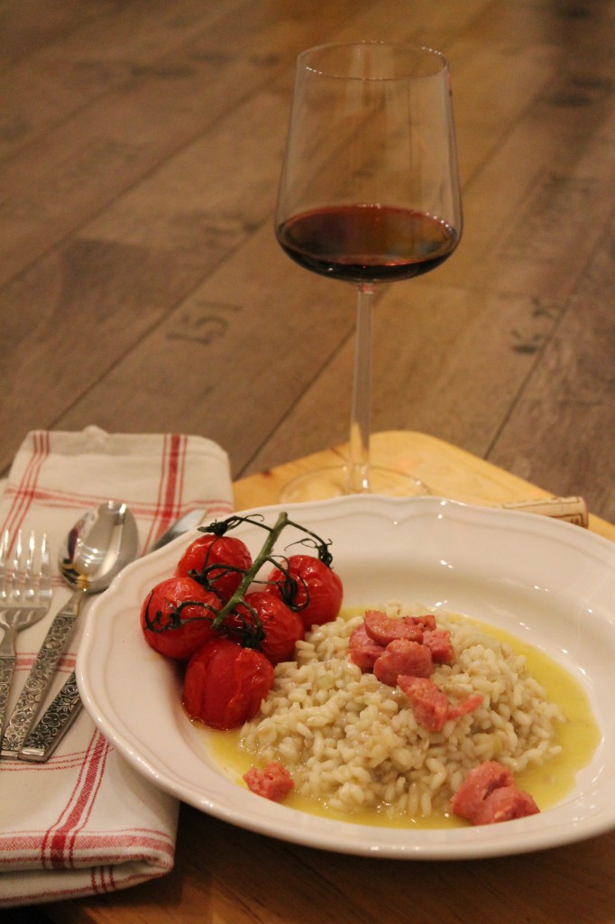 svamprisotto salsiccia ugnsrostade romanticatomater