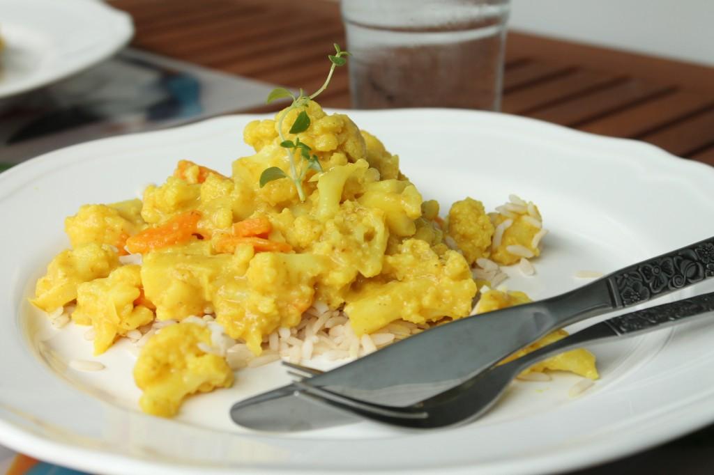 blomkål curry ingefära vegetariskt
