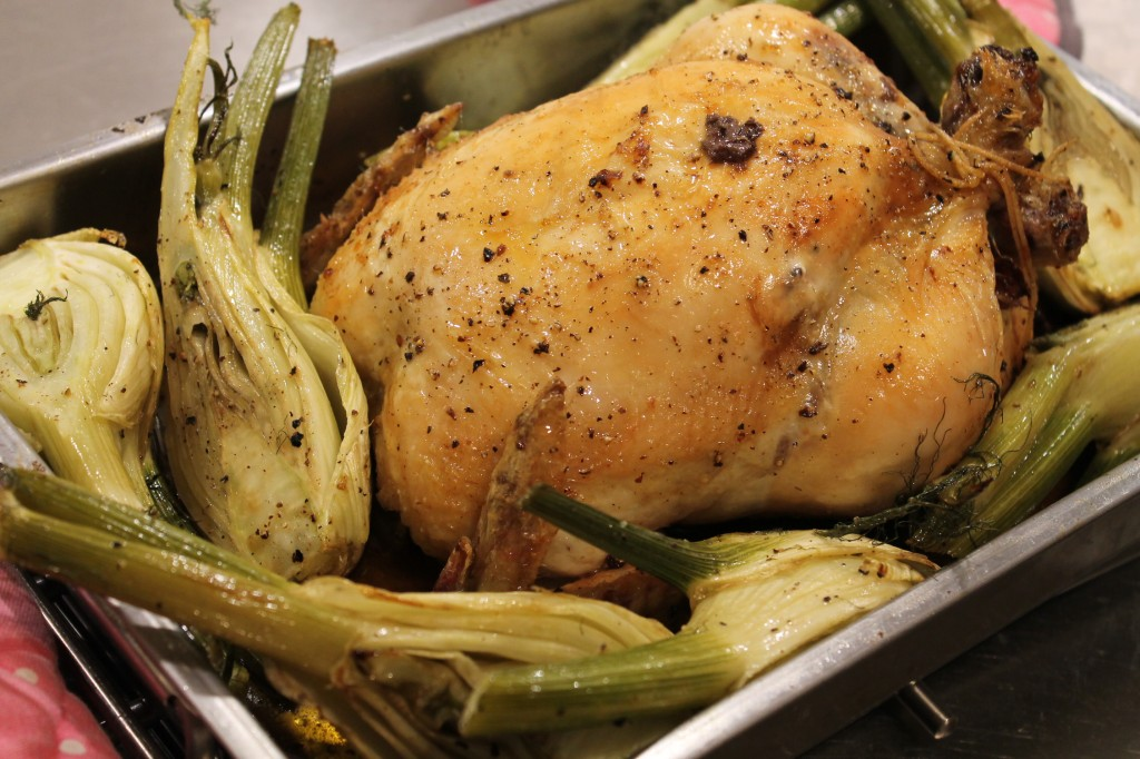 hel ugnsrostad kyckling fänkål medelhavet