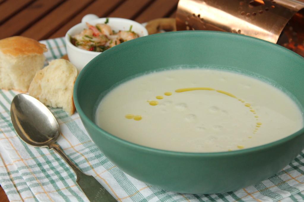 jordärtskockssoppa chiliräkor vitlöksbulle vegetarisk soppa