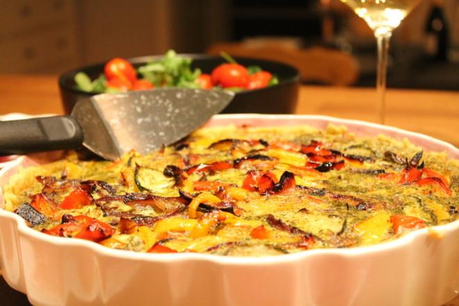 pestopaj ugnsbakade grönsaker ägg pesto