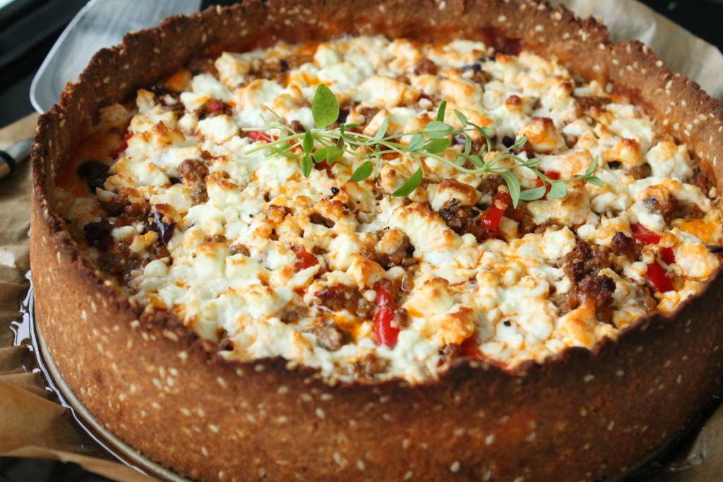 grekisk lammfärspaj fetaost oliver glutenfritt pajskal