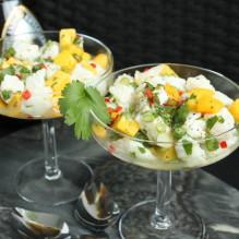 ceviche förrätt torsk mango salladslök chili koriander lime citron lättlagat
