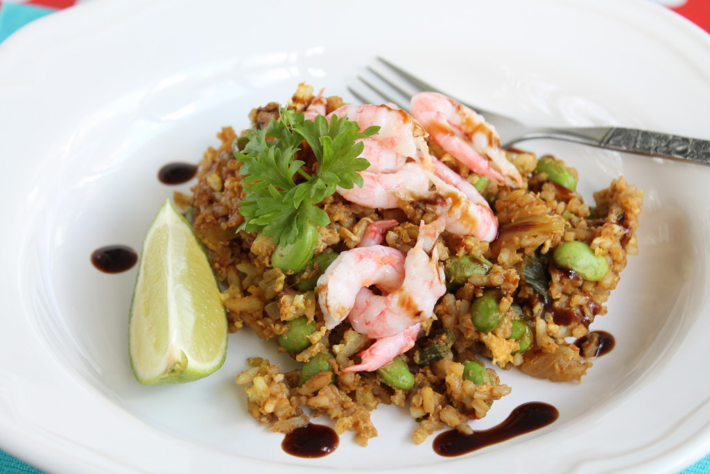 stekt ris räkor ägg sweet chilisås edamamebönor