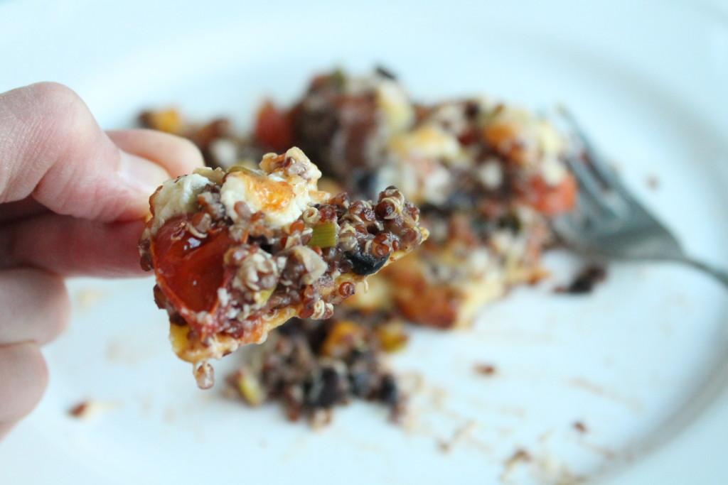 vegetarisk tacogratäng quinoa grönsaker tortillachips