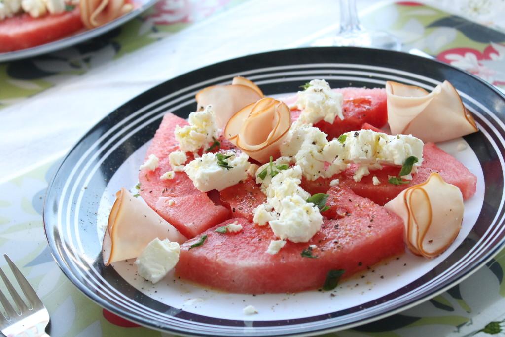 sallad vattenmelon fetaost mynta