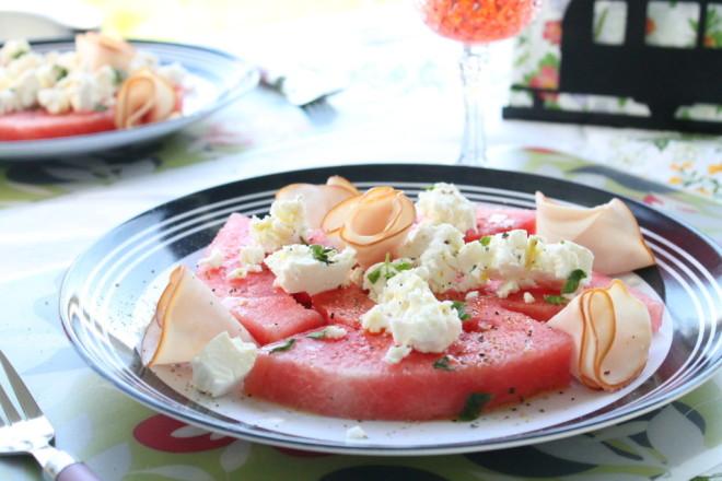 sallad vattenmelon fetaost mynta semester sommar husvagnsmat